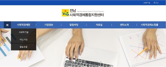 전남사회적경제통합지원센터 홈페이지메인화면.PNG
